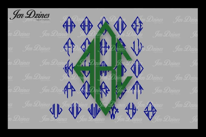 diamond-monogram-font-svg-dxf-eps-png