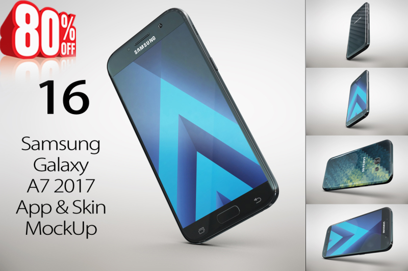 Free Samsung GalaxyA7 2017 App Skin MockUp (PSD Mockups)