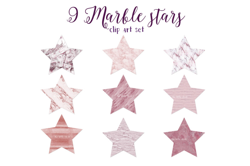 pink-marble-stars-clipart-set-1