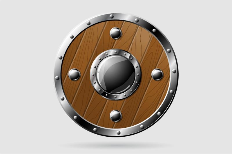 vector-round-wooden-shield