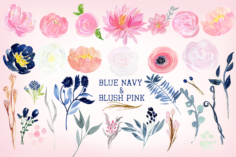 navy-blue-and-blush-pink-flowers-watercolor-clipart