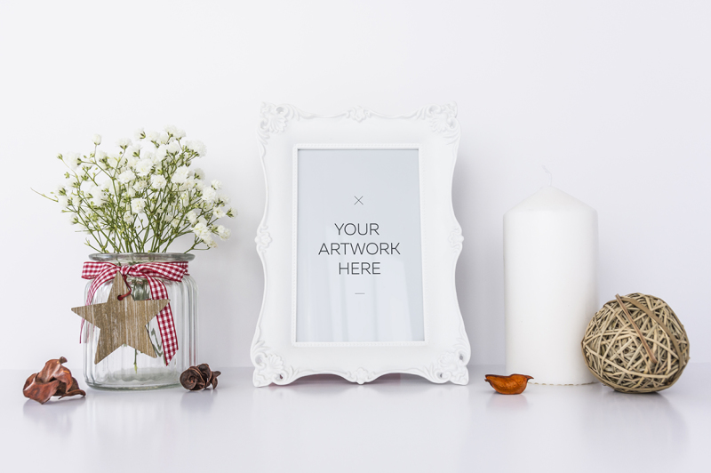 Free White Frame Mockup / PSD&JPG (PSD Mockups)
