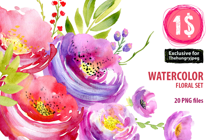 watercolor-floral-set-with-pink-purple-red-flowers