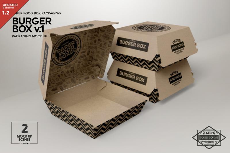 Free Burger Box v1 Packaging Mockup (PSD Mockups)
