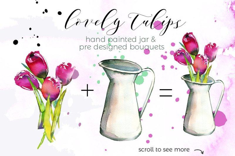 lovely-tulips-watercolor-collection