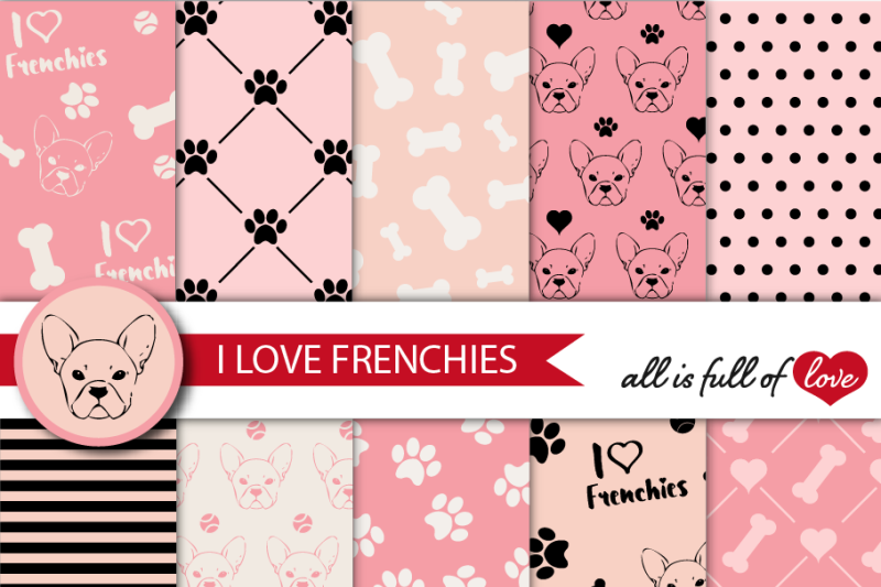 i-love-frenchies-digital-paper-french-bulldog-background-black-and-pink-patterns-to-print-pet-digital-scrapbooking