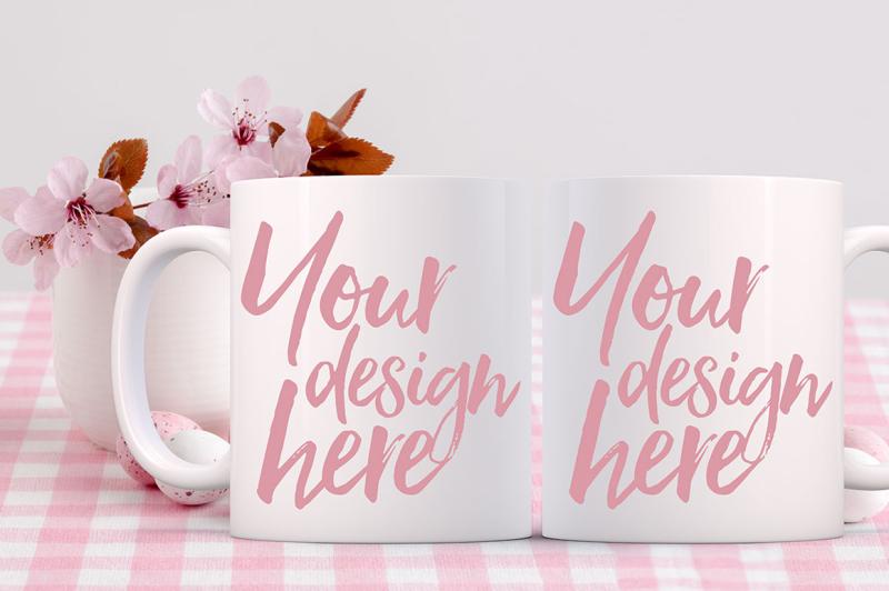Free Easter Mug Mockup - 2 mugs (PSD Mockups)