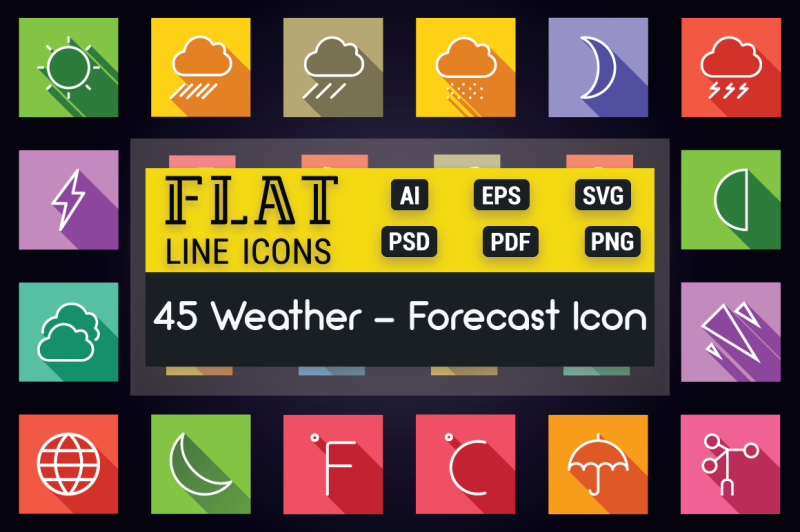 weather-and-forecast-flat-line-icons