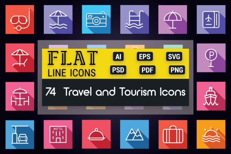 travel-and-tourism-flat-line-icons