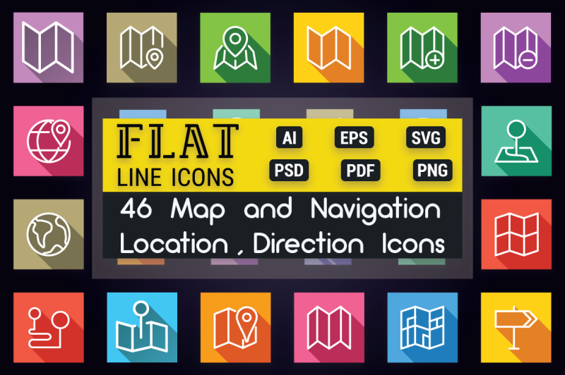 map-location-and-navigation-flat-icons
