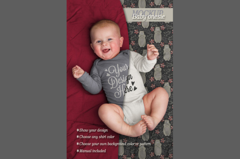 Free Baby onesie bodysuit mockup (PSD Mockups)