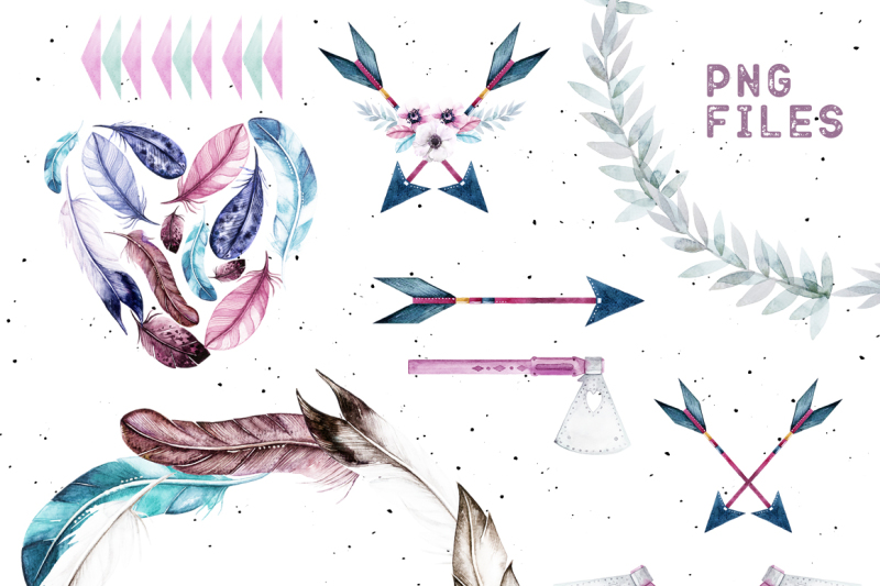 watercolor-feathers-and-raccoons