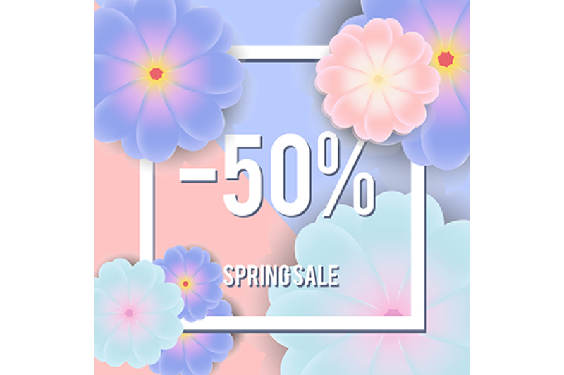 Free Sale banner with realistic flowers and text in frame on pink and blue background (PSD Mockups)