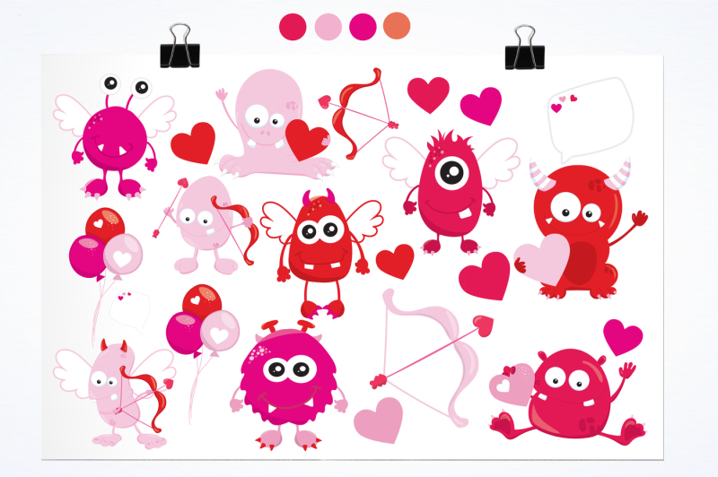 valentine-monsters-graphics-and-illustrations