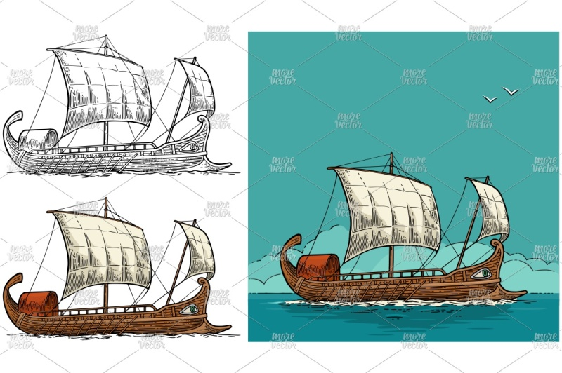 trireme-floating-on-the-sea-waves-engraving