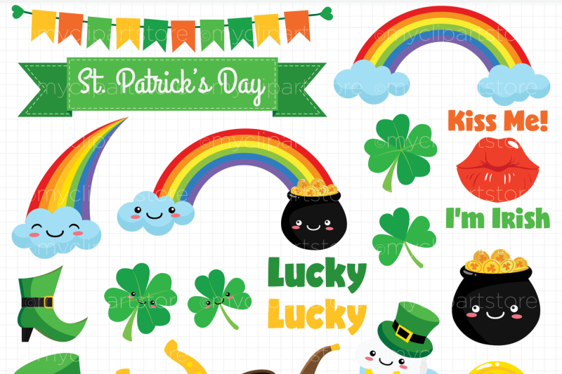 st-patrick-stickers-vector-clipart