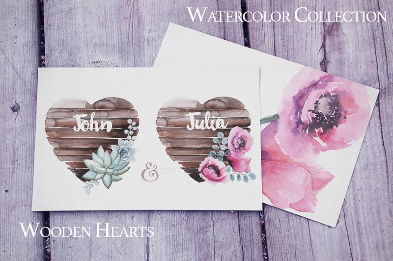 watercolor-wooden-hearts