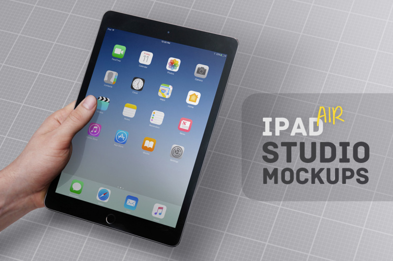 Free iPad Air Studio Mockups (PSD Mockups)