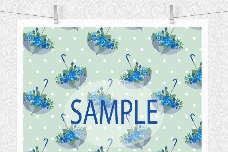 blue-floral-digital-paper-pack