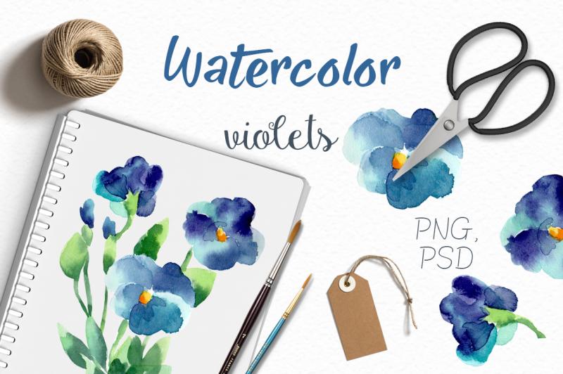 watercolor-violets