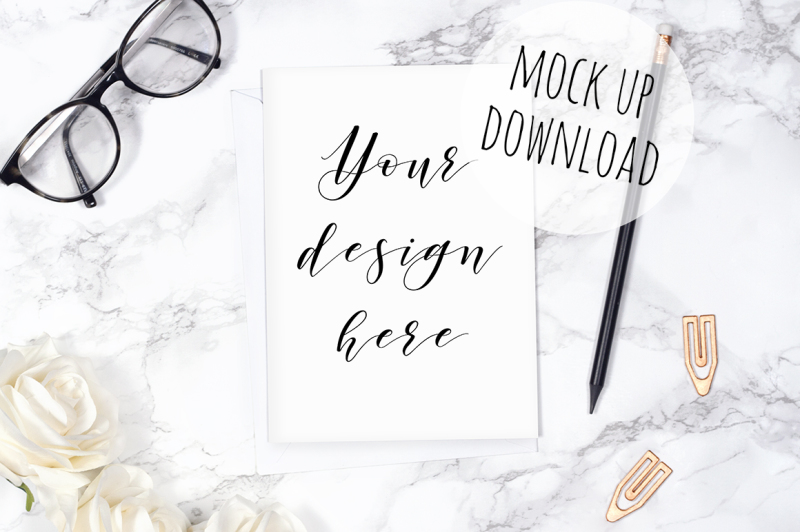 Free Card Mockup Styled Photography (PSD Mockups)