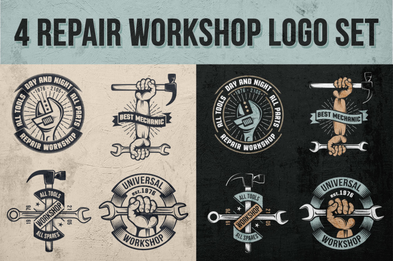 4-repair-workshop-logo-set