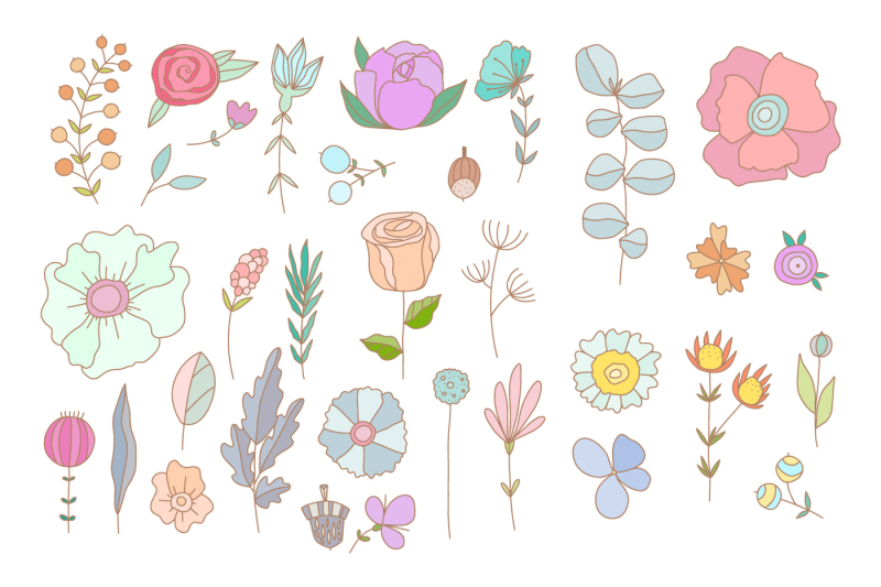 set-of-hand-drawn-pastel-flowers
