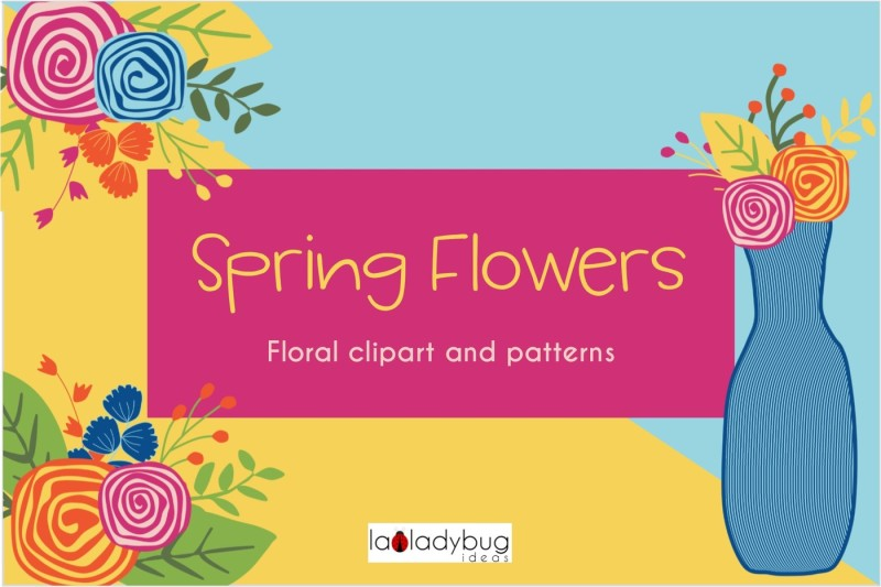spring-flowers-clip-art-and-digital-papers-collection