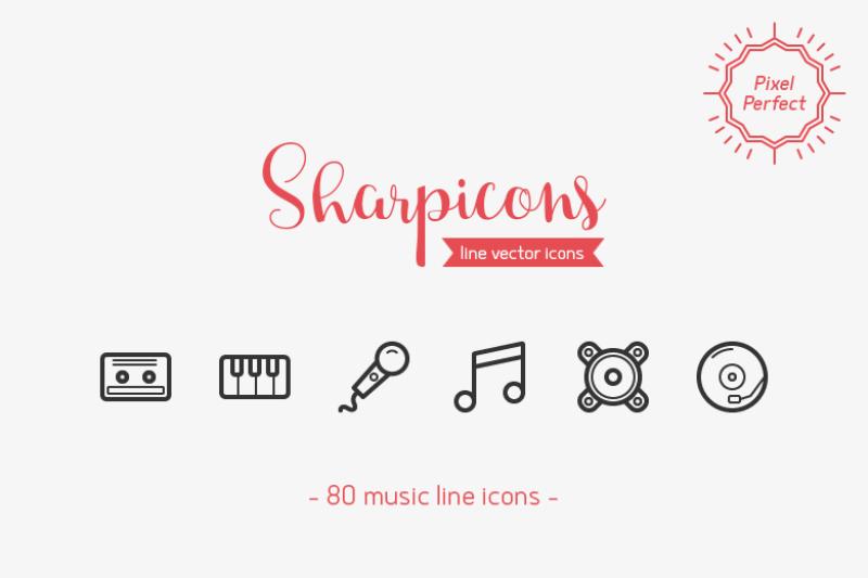 80-music-line-icons-sharpicons