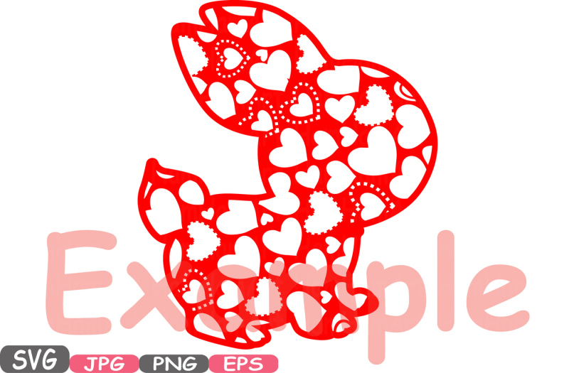 easter-bunny-flowers-and-hearts-silhouette