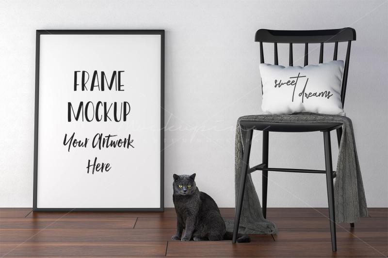 Free Styled Frame Mockup, Styled Cat Photography (PSD Mockups)
