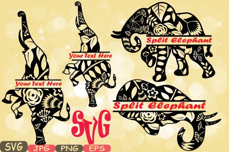 split-elephant-mascot-jungle-animal-safari-flower-monogram-cutting-files-svg-silhouette-school-clipart-eps-png-jpg-zoo-425s