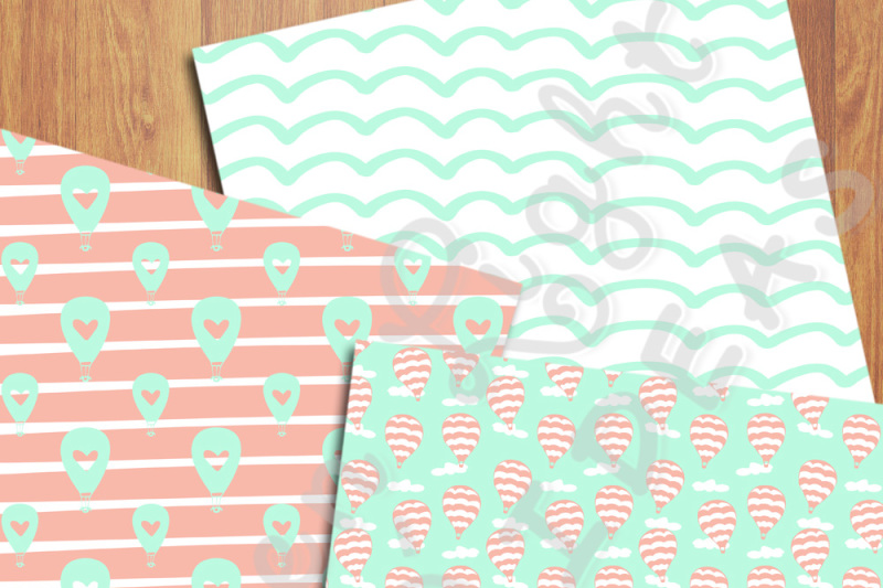 hot-air-balloons-digital-papers-mint-and-coral-backgrounds