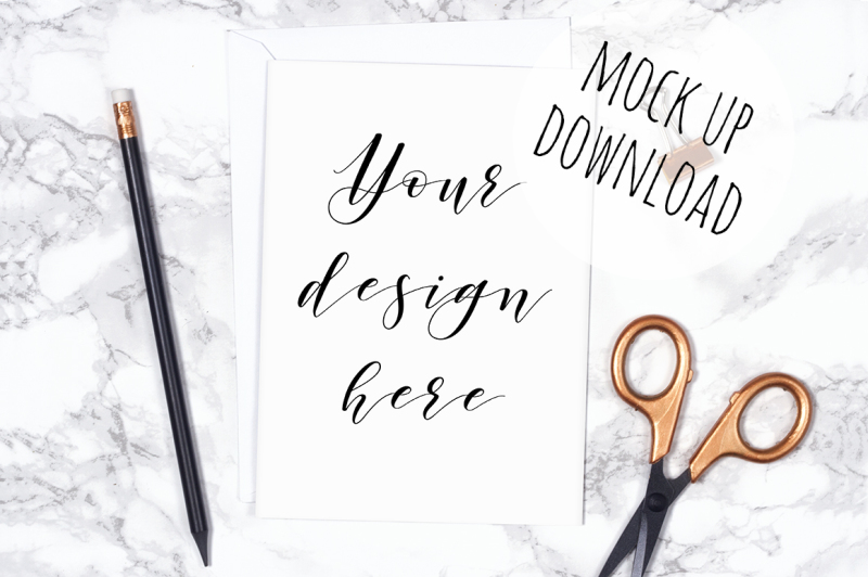 Free Card Mockup Styled Photo With Stationery (PSD Mockups)