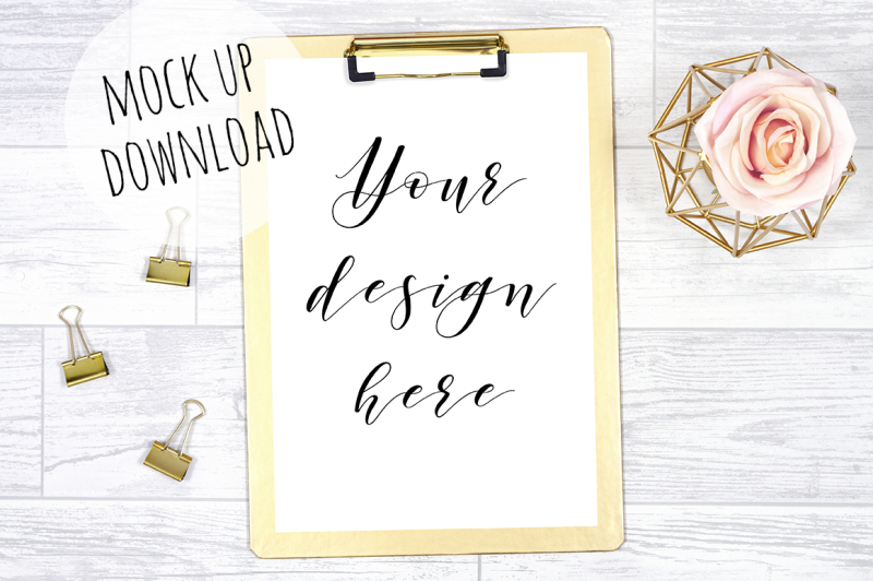 Free Pretty Gold Clipboard Mockup Photograph (PSD Mockups)