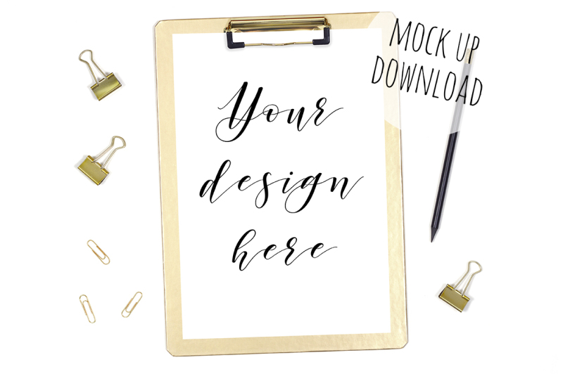 Free Clipboard Mockup Photography - Gold Clipboard with Stationery (PSD Mockups)
