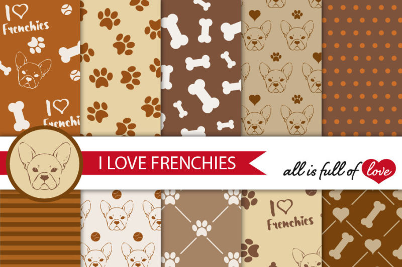 i-love-frenchies-digital-paper-french-bulldog-background-brown-and-beige-patterns-to-print-pet-digital-scrapbooking