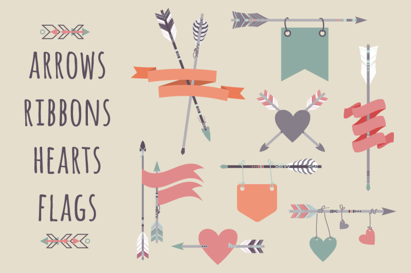 vector-set-with-ethnic-arrows-ribbons-flags-hearts