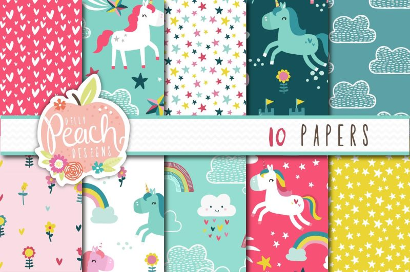 magical-unicorn-clipart-and-seamless-pattern-pack