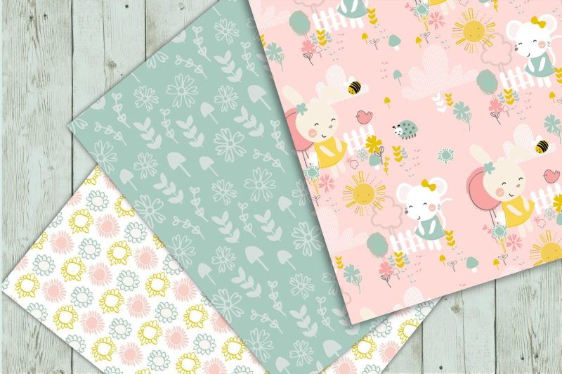 spring-garden-clipart-and-seamless-pattern-pack