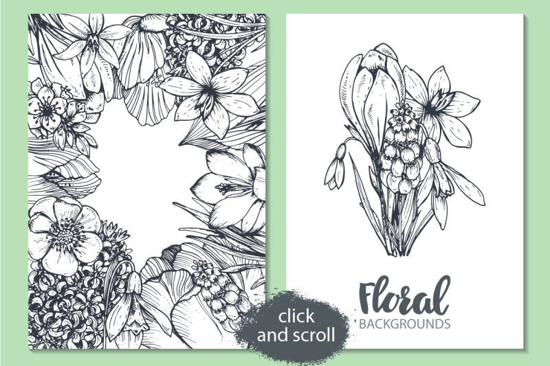 Spring Flowers Hand Drawn Collection By Fancy Art Thehungryjpeg Com
