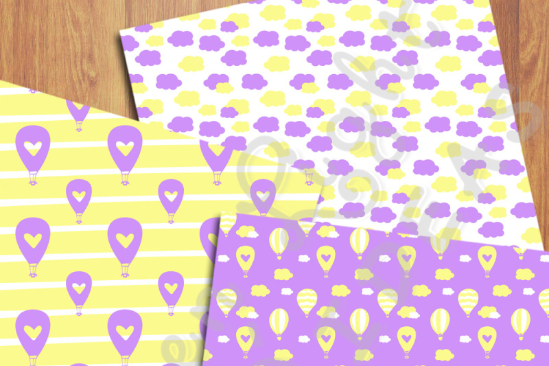 hot-air-balloons-digital-papers-purple-and-yellow-backgrounds