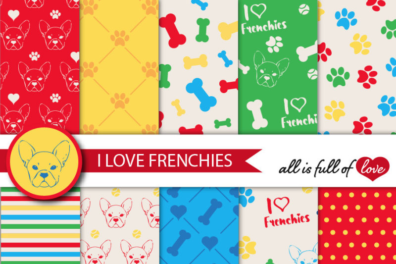 i-love-frenchies-digital-paper-french-bulldog-background-red-yellow-blue-yellow-patterns-to-print-pet-digital-scrapbooking