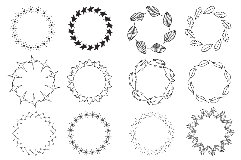 72-hand-drawn-doodle-wreaths-nbsp-design-elements-clipart-floral-and-feathers-wreaths