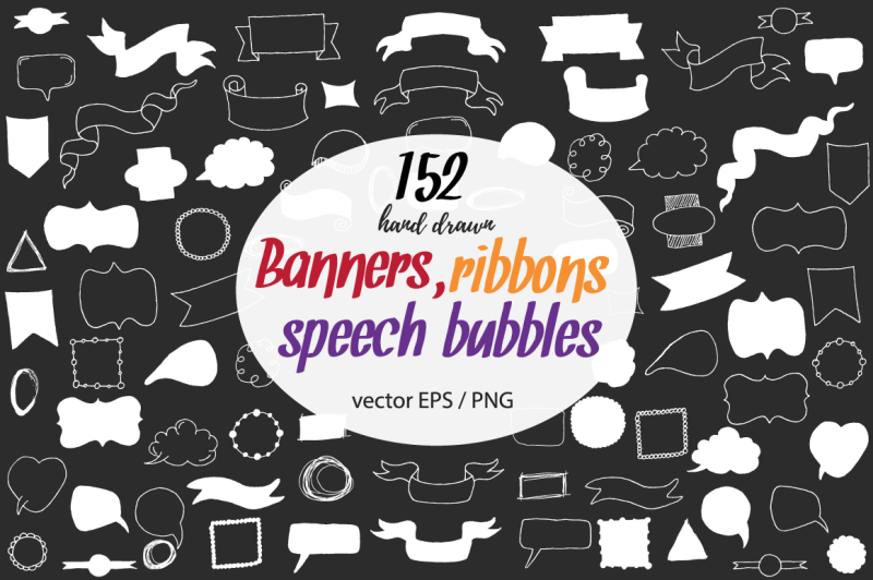 80-big-doodle-clipart-with-banners-ribbons-frames-speech-bubbles-nbsp-and-design-elements