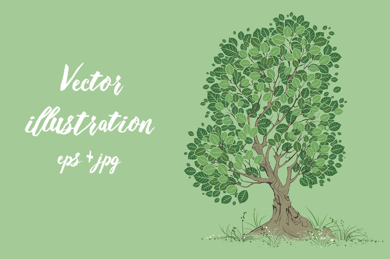 vector-tree-on-a-green-background