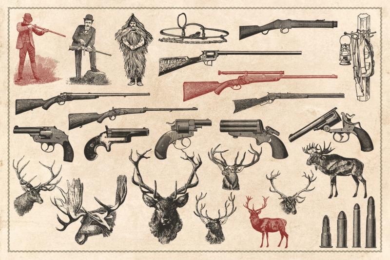 150-vintage-hunting-and-fishing-vectors