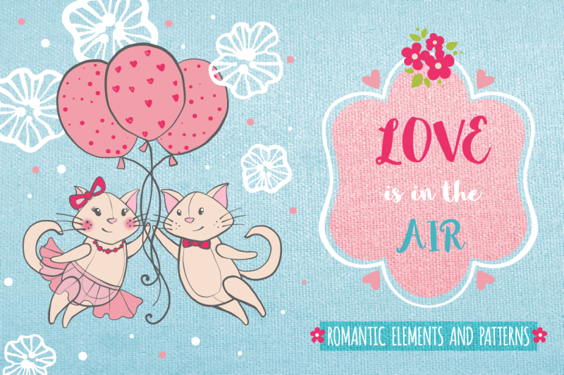 romantic-set-with-cats-and-flowers