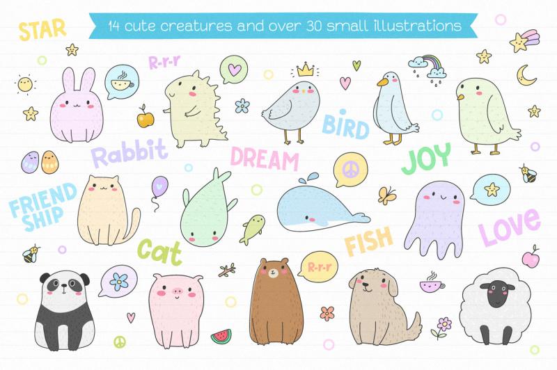 cute-creatures-vector-set