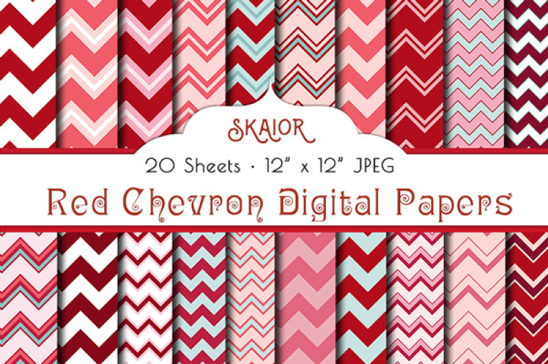 red-pink-chevron-digital-papers